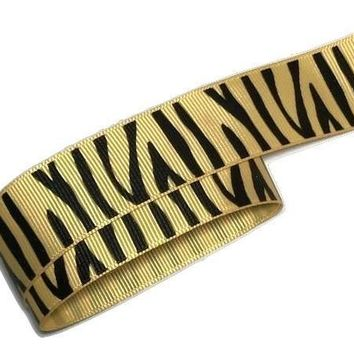 "Tan zebra print 1"" grosgrain ribbon"