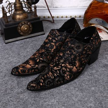 Big Size 38-46 Handmade Shoes 2016 New Men Fashion Genuine Leather Oxford Men's Formal Wedding Party Dress Shoes Flower Men Heel