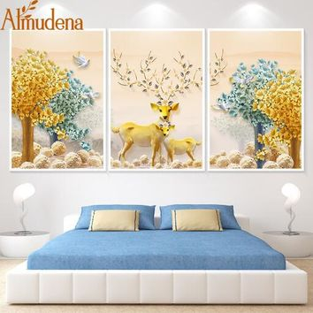 ALMUDENA 3 Pieces Unframed Simple Elk Tree Nordic Triple Decorative Painting on Canvas New Year Home Decoration Wall Artwork