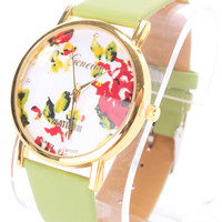 Green Faux Leather Round Face Floral Print Watch