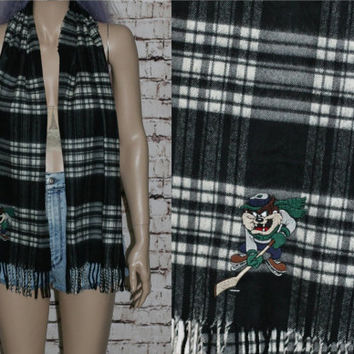 90s Scarf Tartan Plaid TAZ Lonney Tones Long Hipster Grunge Hipster Pastel Goth Cyber Fringe Black White Punk Hockey Embroidered Mens Wear