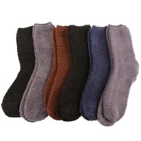 Cozy 6 Pairs Winter Fuzzy Warm Thick Ski Snow Skate Boot Socks Solid