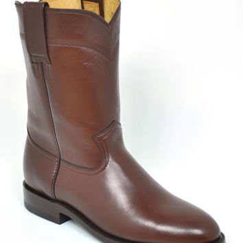 Gavel Handcrafted Men's Brown Goatskin Roper Boots