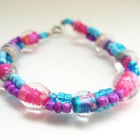 Glass Beaded Bracelet, Bright Color Bracelet