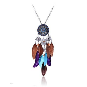 Native American Dream Catcher Colorful Feather Pendant Long Silver Tone Chain Necklace for Women