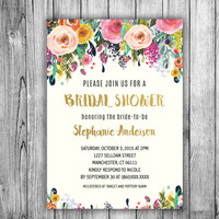 Bridal Shower Floral Invitation Bride To Be Tea Party Invite Gold Navy Blue Pink Flowers Wedding Shower Floral Wreath (Printable DIY)