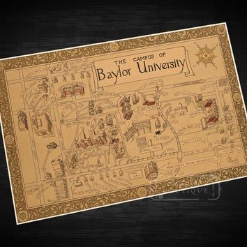 Vintage Map of the Campus of Baylor University (Wall Sticker, Poster, OR Painted Canvas)