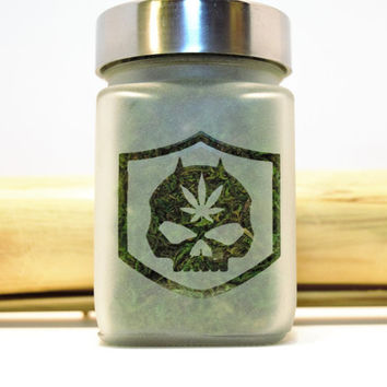 Harley Davidson Inspired Skull Etched Glass Stash Jar - Gifts for Smokers - 420 Gift - Recreational & Medical Marijuana Stash Box