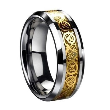 TKOH Dragon Scale Dragon Pattern Beveled Edges Celtic Rings Jewelry Wedding Band For Men Gold 11
