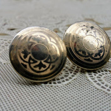 Eighties Round Gold Swank Cufflinks Disco Era