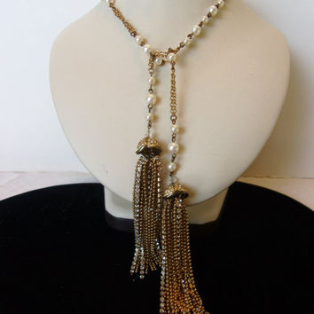Art Deco Revival Vintage Faux Pearl Glass Rhinestone Tassel Lariat Necklace 1950s