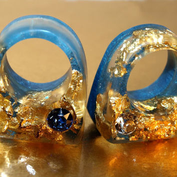 AUTUMN MODERN DESIGN Swarovski Crystal Rings, Azure Blue Resin Rings, Gold Leaf Rings, Crystal Jewelry Trends, End of Summer, ResinHeavenUSA