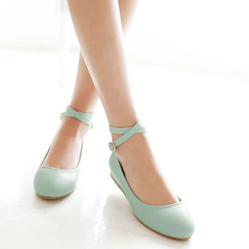 Ankle Staps Women Wedges Shoes Low Heels