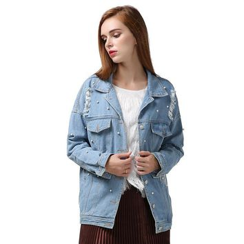 Autumn Pearl Beading Ripped Denim Jacket