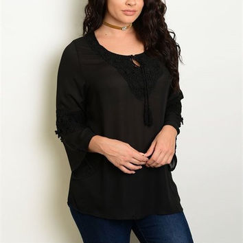 Black Long Sleeve Peasant Top with Crochet Detail