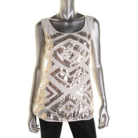 Style & Co. Womens Matte Jersey Sequined Tank Top