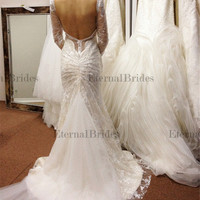 2015 New Wedding Dresses Sexy Deep back/Open Back/Backless Mermaid Lace Wedding Dress/Lace Wedding dress/Vintage Wedding Dress with long sleeves