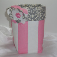 New, Large Pink, Gray and White Fabric Basket