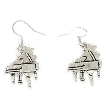 Grand Piano Dangle Earrings Vintage Silver Tone Musical Instrument EG32 Fashion Jewelry