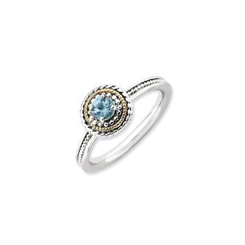 Sterling Silver & 14K Gold Plated Stackable Blue Topaz Ring