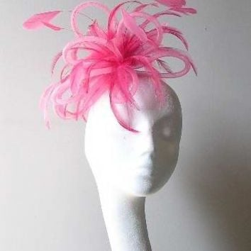 Fuschia cocktail Fascinator Hat for Weddings, Races, and Special Events With Headband
