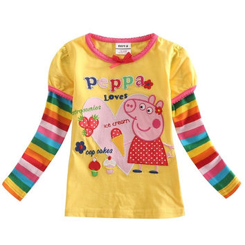 nova brand peppa pig long sleeve t shirt with cotton o-neck tshirt (Size: 18-24m, Color: Yellow) = 1929567428