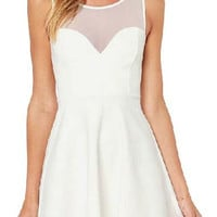 White Sweatheart Neckline Sleeveless Cut-Out Mesh Back Skater Dress