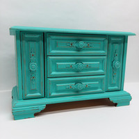 Vintage Wooden Jewelry Box Painted Teal Distressed Upcycled Refurbished