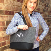 Monogrammed Christmas Gift Bag, Personalized Holiday Gift Idea, Felt Tote
