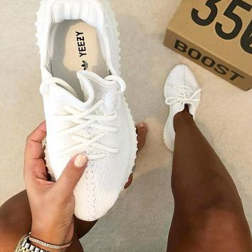"""""""Adidas"""" Women Yeezy Boost Sneakers Running Sports Shoes White"""