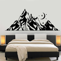 Vinyl Wall Decal Mountains Landscape Moon Star Art Nature Stickers Unique Gift (1310ig)