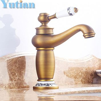 Free shipping Contemporary Concise Bathroom Faucet Antique bronze finish Brass Basin Sink Faucet Single Handle water taps YT5049