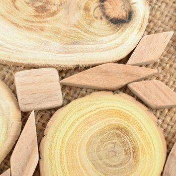 Two handmade sided wooden trivet design kitchen decorations eco products