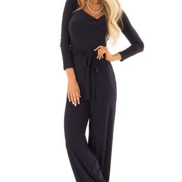 Navy Jumpsuit with Crossover Front and Waist Tie Detail