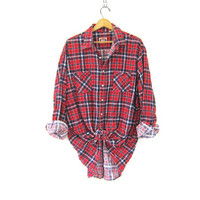 Vintage boyfriend flannel / red plaid shirt grunge shirt tomboy shirt / thin Cotton Flannel boyfriend Shirt. farmer Work Shirt.