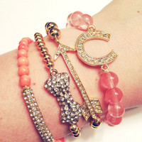 Arm Candy Gold Coral Orange Pink Cherry Quartz Bow Rhinestone Charm  Set of Four DOLLAR SHIPPING in US