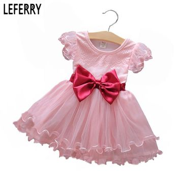2017 New Summer Baby Girl Dresses Princess Kids Clothes Girls Tulle Chiffon Dress Summer Dress for Toddler Girls Bow Red