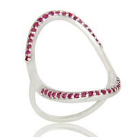 925 Sterling Silver Pave Set Natural Ruby Gemstone Modern Infinity Ring