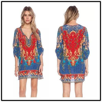 Traditional Costume Ethnic Dress Prom Dresses 2015 Dress Evening Deep V-neck Embroidered Tunic Dress Free People Festival Gypsy Ethnic 8705#