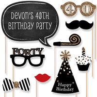 Adult 40th Birthday Party Photo Booth Props Kit
