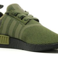 adidas NMD_R1 Boost Mens UK 9 UK Olive Green Running Shoes Trainers AQ1246 NEW