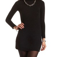 Turtleneck Sweater Shift Dress by Charlotte Russe - Black