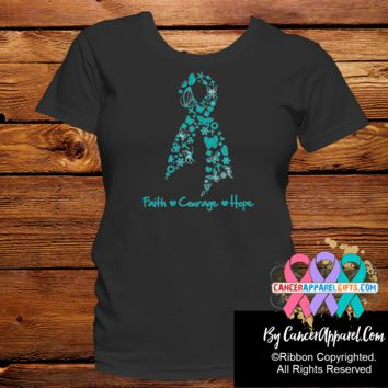 Ovarian Ribbon Faith Courage Hope Shirts