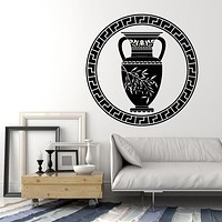 Vinyl Wall Decal Ancient Greek Vase Olive Branch Greece Home Decor Stickers Mural (g1128)