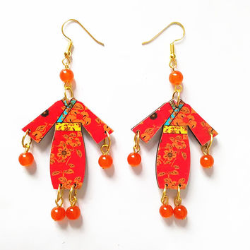 Carving wood Earrings Stone Beads Handmade Personality Laser Cut Wooden Bird Jewelry
