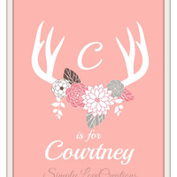 WOODLAND Nursery Personalized Print // Baby Girl Antlers Rustic Deer custom name 8x10 print // Nursery Decor // Girls Room