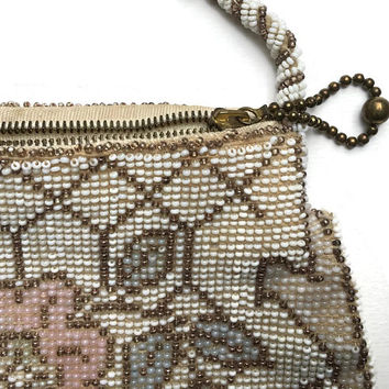 Vintage 1930's Czech Beaded Purse | Ivory White Vintage Evening Bag | Baby Pink Flower And Trellis Hand Stitched Purse