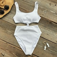 Ribbed Knot One Piece Swimsuit