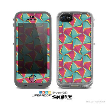 The Abstract Opened Green & Pink Cubes Skin for the Apple iPhone 5c LifeProof Case