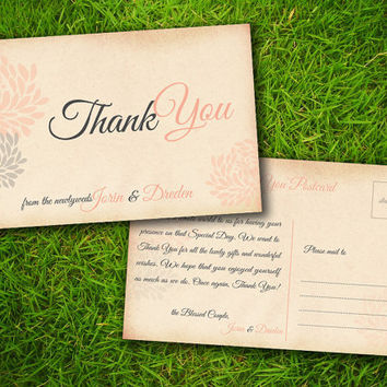 Vintage Flowers Peach Grey Customizable Classic Elegant Thank You Card - Double Sided DIY Printable